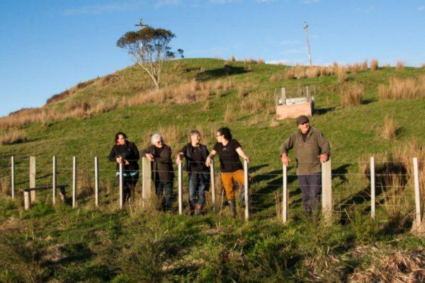 Yvonne Taura, landowner Mere Whaanga, Jo Smith, Jessica Hutchings, Pahauwera Kaumatua Richard Allen at Taipōrutu, Māhia, NZ