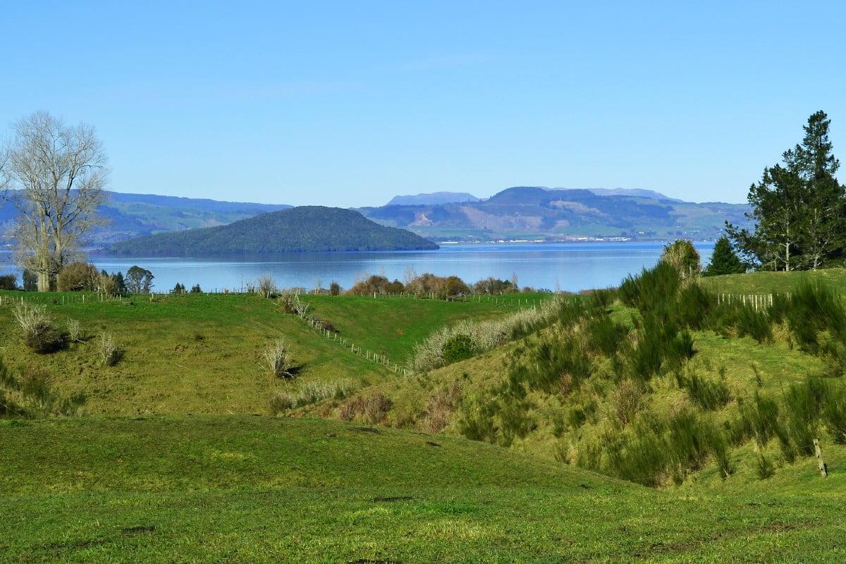 Te Arawa farm, showing view across farmland to lake in Rotorua region of New Zealand. Image courtesy of Rotorua Land Use Directory / TAPS / Bill Young